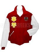 Psi Upsilon Letterman Jacket with Greek Letters and Crest, Red/White