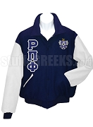 Rho Pi Phi Varsity Letterman Jacket with Greek Letters and Crest, Navy BlueWhite