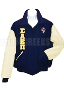 Sigma Alpha Epsilon Pi Varsity Letterman Jacket with Greek Letters and Crest, Navy Blue/Cream