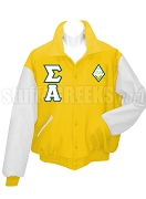 Sigma Alpha Varsity Letterman Jacket with Greek Letters and Crest, Gold/White