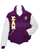Sigma Alpha Mu Varsity Letterman Jacket with Crest and Greek Letters, Purple/White