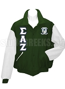 Sigma Alpha Zeta Varsity Letterman Jacket with Crest and Greek Letters, Forest Green/White