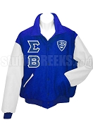 Sigma Beta Club Varsity Letterman Jacket with Crest and Greek Letters, Royal Blue/White