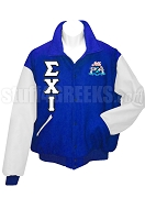 Sigma Chi Iota Varsity Letterman Jacket with Crest and Greek Letters, Royal Blue/White
