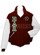 Sigma Delta Alpha Varsity Letterman Jacket with Crest and Greek Letters, Maroon/White