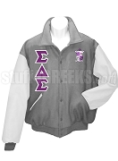 Sigma Delta Sigma Varsity Letterman Jacket with Crest and Greek Letters, Grey/White