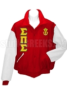 Sigma Delta Sigma Varsity Letterman Jacket with Crest and Greek Letters, Red/White