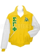 Sigma Gamma Phi Varsity Letterman Jacket with Crest and Greek Letters, Gold/White