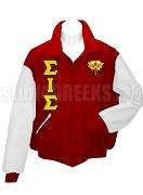 Sigma Iota Sigma Multicultural Sorority Varsity Letterman Jacket with Crest and Greek Letters, Red/White