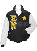 Sigma Nu Triple Greek Letter Varsity Letterman Jacket with Crest, Black/White