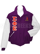 Sigma Phi Epsilon Varsity Letterman Jacket with Crest and Greek Letters, Purple/White