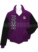 Sigma Phi Kappa Varsity Letterman Jacket with Greek Letters and Crest, Purple/Black