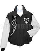 Swing Phi Swing Greek Letter Varsity Letterman Jacket with Crest, Black/White