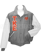 Tau Kappa Epsilon Basic Greek Letter Varsity Letterman Jacket with Crest, Gray/White