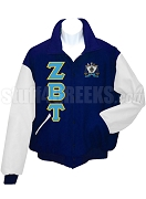 Zeta Beta Tau Varsity Letterman Jacket with Greek Letters and Crest, Navy Blue/White