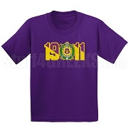 Omega Psi Phi Screen Printed T-Shirt with Crest and Founding Year, Purple