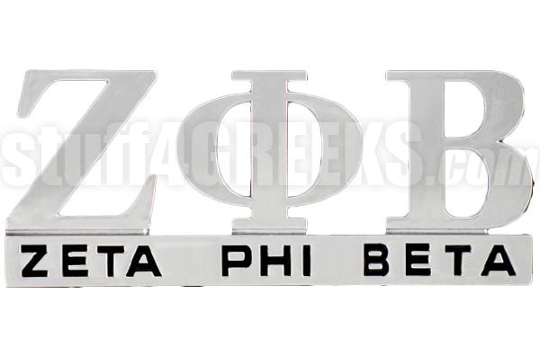 Zeta phi beta chrome greek letters car decal ns zoom