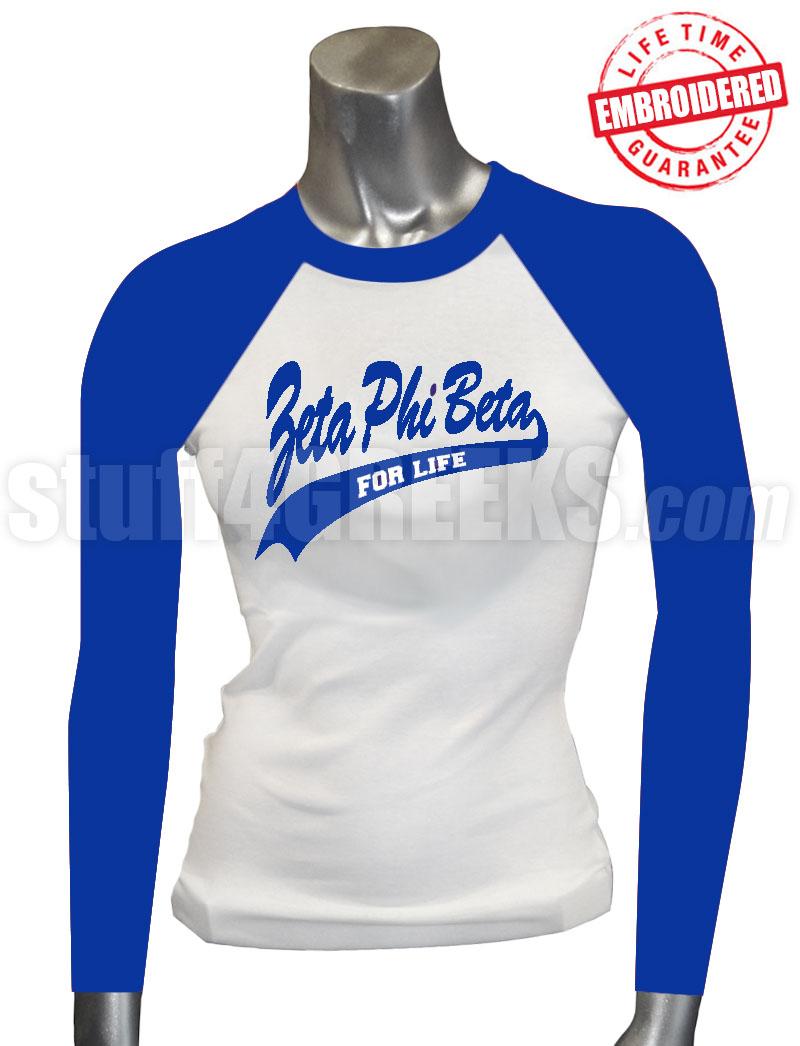 zeta phi beta for life raglan t royal blue