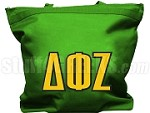 Delta Phi Zeta Tote Bag with Greek Letters, Kelly Green