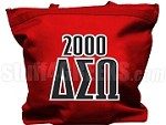 Delta Sigma Omega Tote Bag with Greek Letters and Founding Year, Red