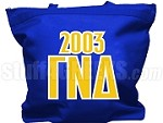 Gamma Nu Delta Tote Bag with Greek Letters and Founding Year, Royal Blue