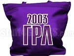 Gamma Rho Lambda Tote Bag with Greek Letters and Founding Year, Purple