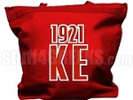 Kappa Epsilon Tote Bag with Greek Letters and Founding Year, Red