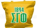 Sigma Gamma Phi Tote Bag with Greek Letters and Founding Year, Gold