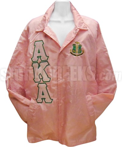 Alpha Kappa Alpha Greek Letter Line Jacket with Crest, Pink/Kelly Green