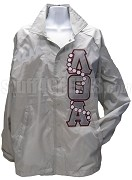 Lambda Theta Alpha Greek Letter Line Jacket with Pearls Thru, Gray