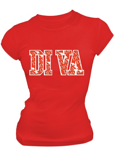 Diva Print Screen Printed T-Shirt, Red