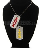 Lambda Pi Chi Double Dog Tags - Double with Founding Year
