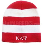 Kappa Alpha Psi Beanie Skullcap with Greek Letters, Striped Red/White