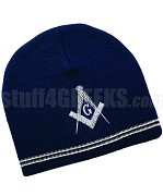 Mason Knit Beanie Hat with Square & Compasses, Navy Blue