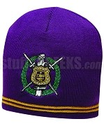 Omega Psi Phi Knit Beanie Hat with Crest, Purple