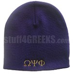 Omega Psi Phi Beanie Skullcap with Greek Letters, Solid Purple