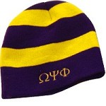 Omega Psi Phi Beanie Skullcap with Greek Letters, Striped Purple/Gold