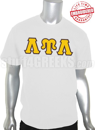 Lambda Upsilon Lambda Greek Letter T-Shirt, White - EMBROIDERED with Lifetime Guarantee
