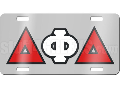 delta phi delta license plate with black red and white. Black Bedroom Furniture Sets. Home Design Ideas