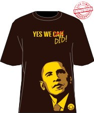 """Yes We Did"" Obama T-Shirt, Brown/Gold - EMBROIDERED with Lifetime Guarantee"