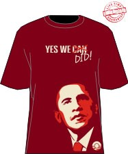 """Yes We Did"" Obama T-Shirt, Crimson/Cream - EMBROIDERED with Lifetime Guarantee"