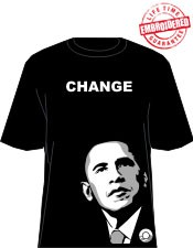"""Change"" Obama T-Shirt, Black/White - EMBROIDERED with Lifetime Guarantee"