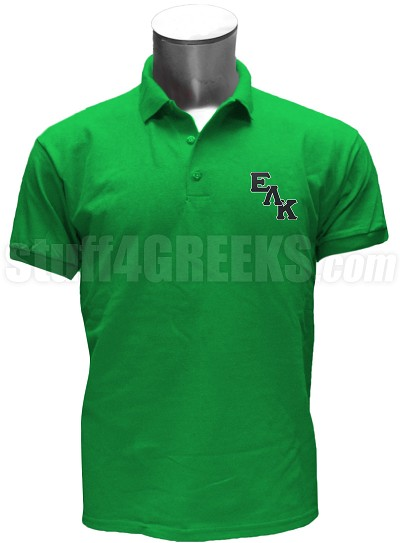 Epsilon Lambda Kappa Polo Shirt with Logo Letters, Kelly Green
