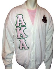 White Alpha Kappa Alpha Cardigan with Letters and Crest