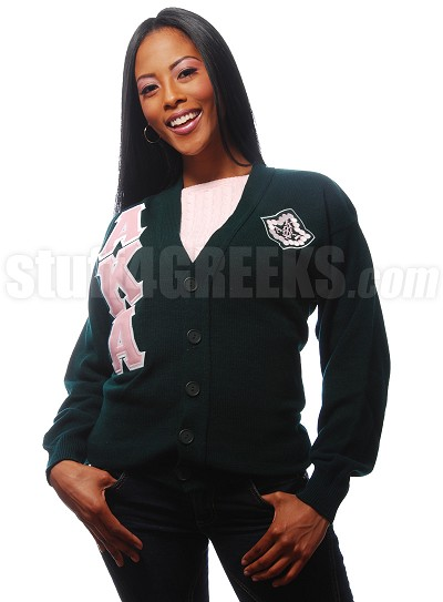 Forest Green Cardigan with Alpha Kappa Alpha Letters and Pin