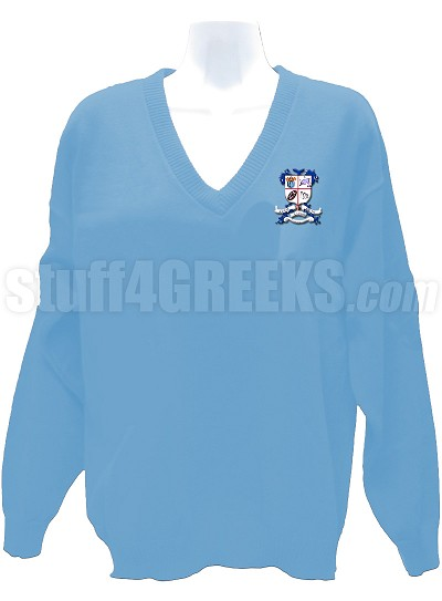 Alpha Sigma Theta V Neck Sweater With Crest Baby Blue