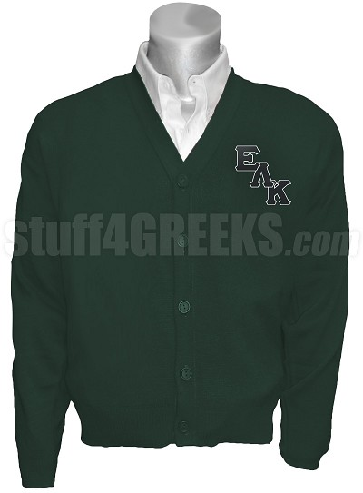Epsilon Lambda Kappa Cardigan with Logo Letters, Forest Green
