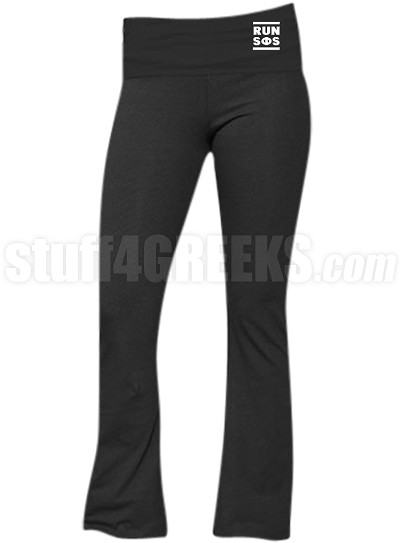 Swing Phi Swing Run DMC Screen Printed Yoga Pants, Black (BC)