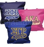 Greek Sorority Letter Tote Bag with Tail Patch - AVAILABLE FOR ALL DIVINE NINE SORORITIES