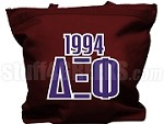 Delta Xi Phi Tote Bag with Greek Letters and Founding Year, Maroon